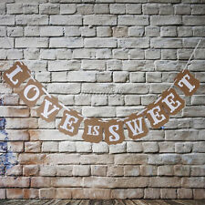 Rustic LOVE IS SWEET Party Sign Wedding Bunting Banner Garland Photo Props New