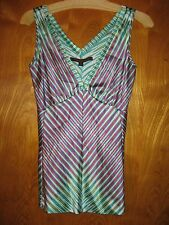 A Common Thread Rozae Nichols S silk sleeveless white pink green top shirt cami