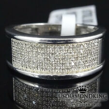 MEN'S WOMEN' LADIES REAL GENUINE DIAMOND WEDDING RING BAND 14K WHITE GOLD FINISH