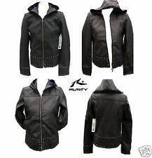New Rusty Black Hoodie Transit Jacket Top Size 12 Leather Like Ladies Coat $180
