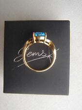 9ct          Blue Topaz  &  Diamond   Gold Ring