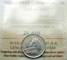 1912 Ten Cents Certified CHOICE AU-UNC ** BEAUTIFUL Early George V Canada Dime