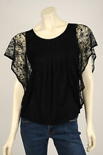 Levi's - Women's Black Short Sleeve Round Neck Lace Blouse / Top - Size XS