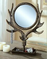 Antler Table Vanity Mirror Jewelry Tree Holder Stand Swivel Rustic Cabin Lodge