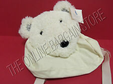 Pottery Barn Kids Polar Bear Plush Backpack Book School Travel Bag Corduroy WHT