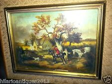 BEAUTIFUL ANTIQUE OIL ON BOARD PAINTING HUNTING WITH HORSES AND DOG SIGNED