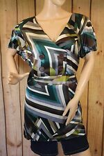 Lane Bryant Multi Color Striped Womens Blouse Short Sleeve Size 14/16