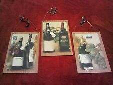 3 French Wine Pictures Italian Bottles Grapes Wall Hanging Decor Plaques Paris