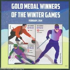 THE GAMBIA  2014 SOCHI OLYMPIC GAMES GOLD MEDAL WINNERS  SHEET MINT NH