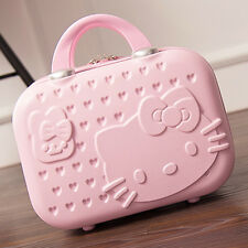 "14"" Fasion Cute Women Girl handbag Makeup Case Travel Mini Luggage Pink Suitcase"
