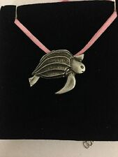 Turtle R11 Pewter Pendant on a PINK CORD Necklace