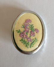 Broche Vintage Bordado Flores Violetas