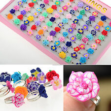 CHIC Wholesale Lots 30pcs Colorful Rose Flower polymer clay Children Rings Gift