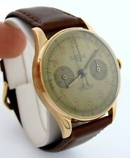 MENS VINTAGE 18K ROSE GOLD AUREOLE MANUAL WIND CHRONOGRAPH STOP WATCH 17 RUBIES