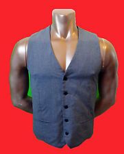 TOPMAN us40 Grey vest EUR 101cm gray grey pinstripe fitted medium