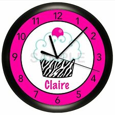 HOT PINK AND BLACK CUPCAKE ZEBRA WALL CLOCK KIDS BEDROOM DECOR PERSONALIZED