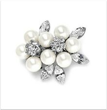 Silver Plated Rhinestone and Ivory Pearl Flower Bridal Party Prom Brooch Pin