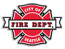 4x4 inch Maltese Cross Shaped SEATTLE FIRE DEPT Sticker - firefighter wa fd sfd