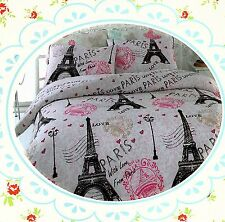 Pink Paris ~Eiffel Tower~ Queen Size Quil Cover Set New