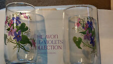 WILD VIOLETS by AVON 6Purple Flower Crstal Tumblers Signed J Walsh  NIB