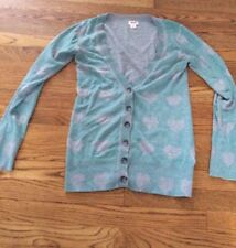 Mossimo Target Sweater Cardigan Mint Grey Hearts Long Size Small