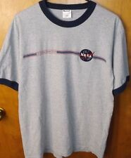 NASA US Space & Rocket Center Embroidered Men's Gray Ringer Shirt Large VTG 90s
