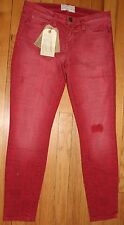 $228 CURRENT/ELLIOTT RED CORAL BANDANA THE STILETTO JEANS SZ 27