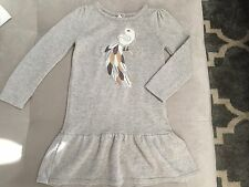 Girl's Gymboree Knit Dress Size 5 Gray With Bird