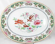 "19"" ANTIQUE 1870 MINTON CHINA HAND PAINTED LG SERVING PLATTER A5061 BIRDS FLORAL"