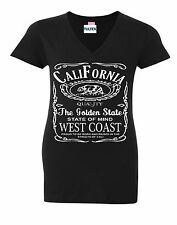 California Bear V-NECK WOMEN T-Shirt Cali Republic The Golden State Ladies Shirt