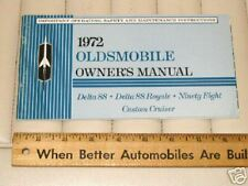 1972 OLDSMOBILE 88 98 Custom Cruiser Car Owner's Manual