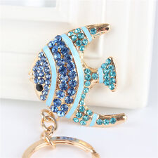 Lovely Blue Fish Charm Pendant Rhinestone Crystal Key Ring Chain Gift Accesories