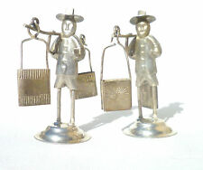 PAIR OF CHINESE EXPORT WHITE METAL MEN CARRYING TRAYS/MENU HOLDER c1900