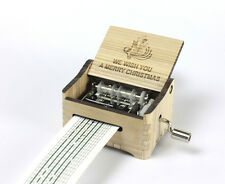 We Wish You a Merry Christmas / Hand Crank Paper Strip Wooden Music Box