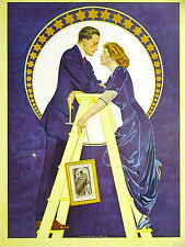 Coles Phillips FADEAWAY GIRL & BOY HANGING PICTURES 1912 Antique Print Matted