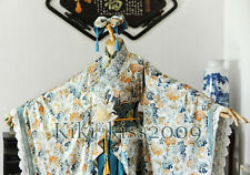 China Blue and White Flower Dress Lolita Waloli Cosplay Custom-Made Kimono