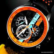 Men Invicta S1 Rally Racing Orange Black Leather Chronograph GMT Watch New