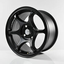 4PCS JUN RACING ADVAN RACING RG2 FLAT BLACK 15inch 4X114.3 RIM KT06-2