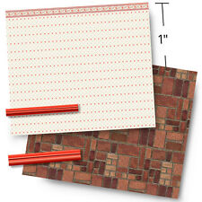 """1/4"""" Scale Dollhouse Wallpaper - 1940 Red and Cream Vintage With 1944 Linoleum"""