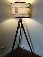 TIMBER TRIPOD AGED WOOD DESIGN FLOOR LAMP - NEW
