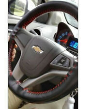 Genuine Leather DIY 38cm Steering Wheel Cover Non-Slip Sweat with Red Nylon Cord