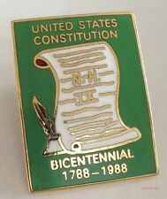 United States Constitution Lapel Pin Bicentennial 1788-1988 Green Hat Pinback