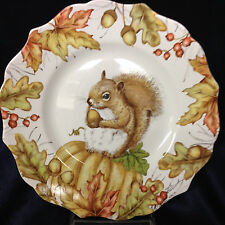 "PIER 1 PORCELAIN MAZEY THE SQUIRREL SALAD PLATE 8 5/8"" ACORNS FALL LEAVES"