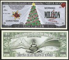 CHRISTMAS TREE MILLION NOVELTY JOY, PEACE, LOVE, FAMILY DOLLAR -Lot of 2 BILLS