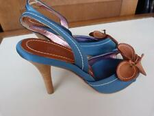 NWOT ETRO Teal/Turquoise W/ FLOWER Slingback Heels...size 36.5/6.5
