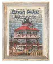 Drum Point Lighthouse Chesapeake Altered Art Print Upcycled Vintage Dictionary