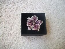 NOLAN MILLER Ring 9 SENSATIONAL Purple Clear Crystal ORCHID Silvertone WOW!