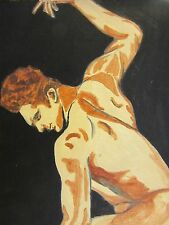 "Ben '37""~Portrait of Nude Muscle Man~Jojo Jakubowski~2015~9""x12""~acrylic~GAY~"