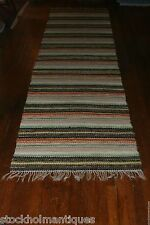 Super Antique Swedish Hand Made Rag Rug (30.5x 131 inches)