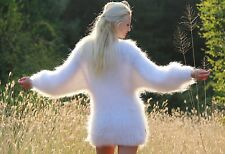 SUPERTANYA WHITE Hand Knitted Mohair Sweater Fluffy Soft Jersey Fuzzy Pullover